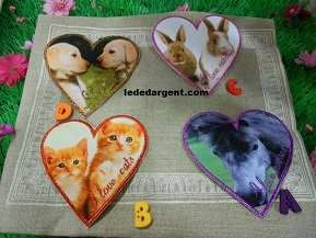 motif coeur animaux I love you
